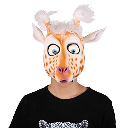 Halloween Animal Head Cover Masquerade Head Cover Cómodo y transpirable Material de látex Máscara Animal Headgear ToGames (Color: Cabeza de ciervo)
