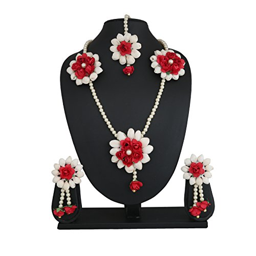 The Peacock Studio Red Fabric Rose Mogra Flower Jewellery Set For Women