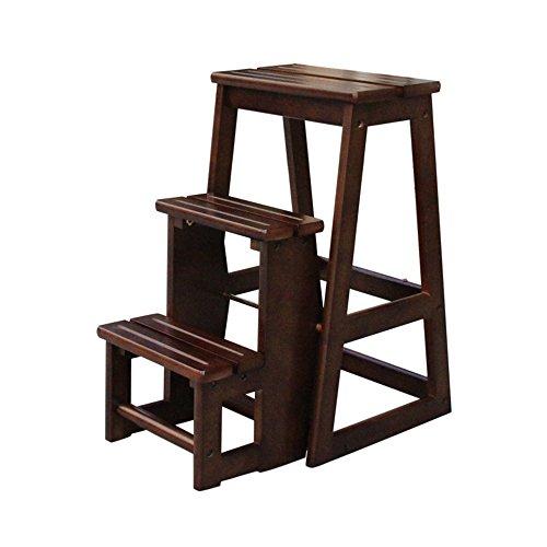 DEO Bureau d'ordinateur bois Chaise pliante 3 tabourets souple Küchenleiter Anti-dérapant compact 56 * 38 * 64 cm durable (Couleur : Marron)