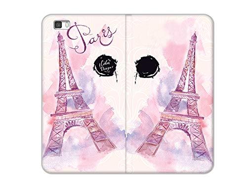 etuo Huawei P8 Lite - Hülle, Handy Flip Case - Rosa Eiffelturm