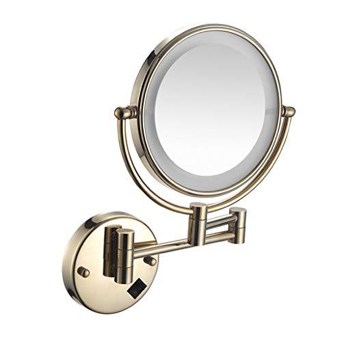 Gold 8 Licht (ALYR Kosmetikspiegel Mit Licht, LED Badezimmer Beleuchtete Makeup Mirror, Doppelseitige Kosmetikspiegel Magnification, Powered by Plug,Gold_8 inch)