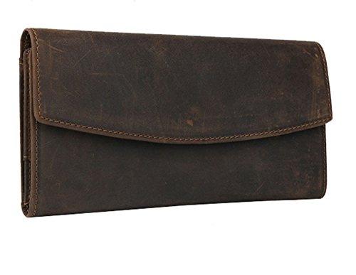 Modelshow Damen Herren Crazy Horse Leder Jahrgang Retro Trifold Lange Brieftasche Geldbörse Beutel Tasche (dunkelbraun) dunkelbraun