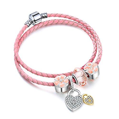 Pulsera De Color Rosa Dulce Chica De Estilo De Cuero Delgado Doble Corazón Encanto 36