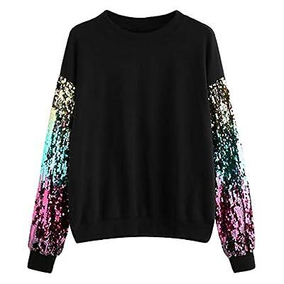 Yvelands Damen Sweatshirt Casual Langarm Pailletten Oansatz Pullover Top Bluse T-Shirt