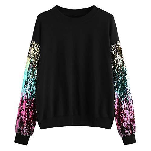 Yvelands Damen Sweatshirt Casual Langarm Pailletten Oansatz Pullover Top Bluse T-Shirt(CN-S,Schwarz)