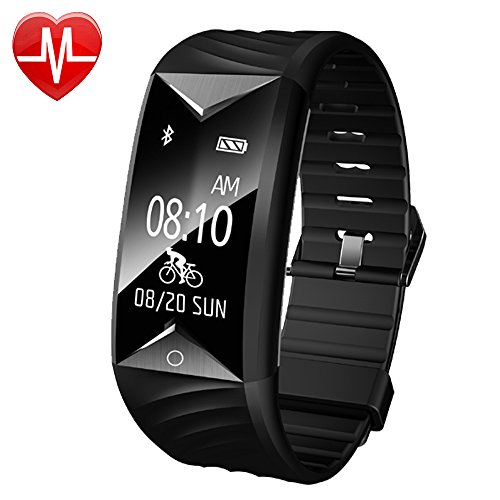 Fitness Tracker, AsiaLONG Fitness Armband Herzfrequenz IP67 Wasserdicht Uhr Schrittzähler Aktivitätstracker für iOS und Android Handys (Mit Schlaf-Monitor, Call Nachricht Reminder, Fahrrad Modus)