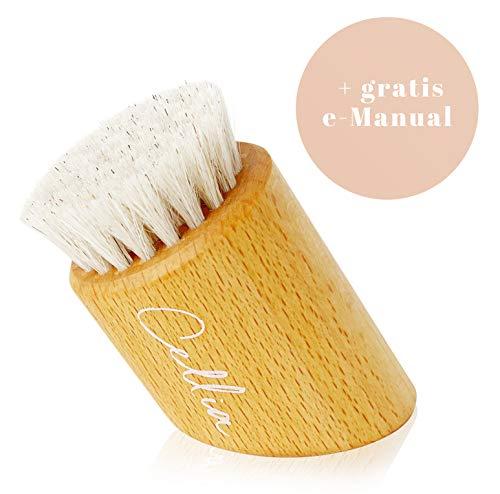 CELLIA Gesichtsbürste zur Trockenbürsten Massage, Peeling sowie Reinigung  100% Natur-Borsten   regionales, FSC-zertifiziertes Buchen Holz   dry brush face  Trockenbürste Gesicht  hergestellt in DE - Alter Anti-aging-gesichtsreiniger