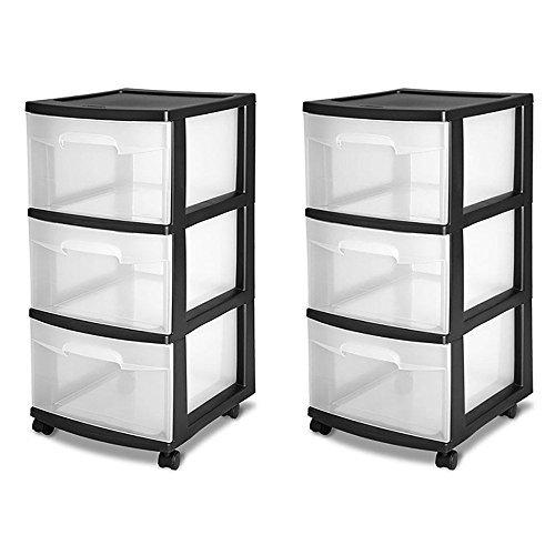 Sterilite 3-Drawer Storage Cart, Black by STERILITE