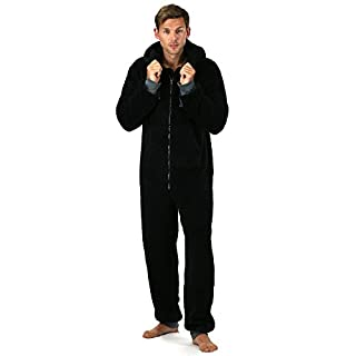 Jumpsuit Onezee for Men - Super Soft Fleece Jumpsuit with Hood & Pockets - All in One Snuggle Onesie Warm Playsuit with Ribbed Cuffs