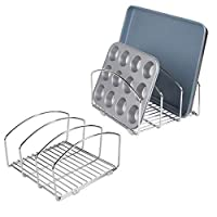 mDesign Set of 2 Kitchen Bakeware Organiser - Chrome Plated Metal Baking Tray Rack and Cutting Board Holder - Ideal Kitchen Storage Solution - Silver