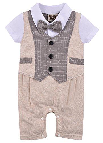ZOEREA 1pc Kinder Baby Kleinkind Junge Kleidung Spielanzug Bodysuit Kleidung Gentleman Gesamtkind Sommer Kleidung Baumwolle Kurzarm Druck Babys Babys Taufe Hochzeit Weihnachten (0-24M) (X Herren Bodysuit)