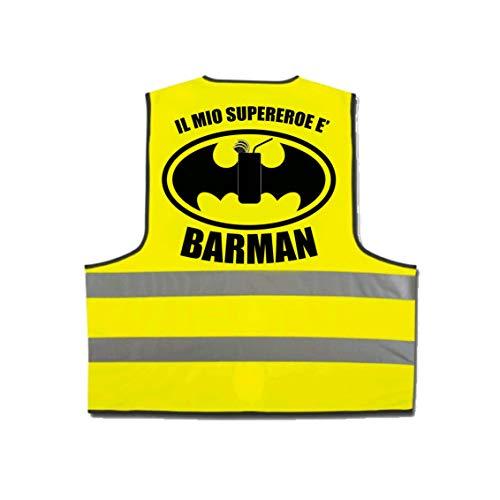 pazza idea Reflektierende Weste mit Hoher Sichtbarkeit Gelb Schriftzug Mein super Held und ()