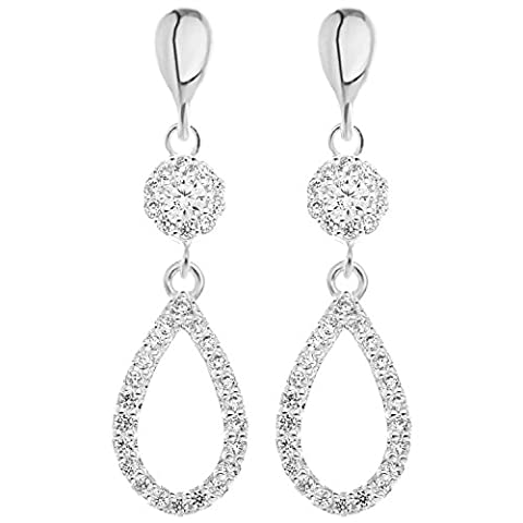 Ornami Sterling Silver Cubic Zirconia 'Chandelier' Style Drop