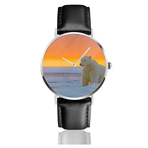 Alaska Animals Eisbär Eisbär Schnee Quarzuhr Edelstahl Klassisch Casual Lederband Uhren -