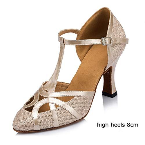 Meijili Damen High Heel Schuhe Salsa Tango Modernes Ballrom Latein Tanzschuhe, Gr.-36 EU/ 3.5 UK, Champagne mesh
