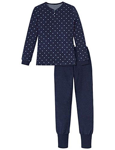Schiesser Mädchen Zweiteiliger Schlafanzug Anzug Lang, Blau (Nachtblau 804), 152