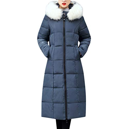 Madmoon Damen Wintermantel Warm Gefütterte Winterjacke Lange Business Mantel Casual Langarm Jacke Oberbekleidung Fell Kapuzenmantel mit Baumwolle gepolsterte Reißverschlussjacken Taschenmäntel