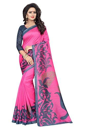 PRAMUKH STORE Cotton Silk Saree With Blouse Piece (Pink Grey_Free Size)