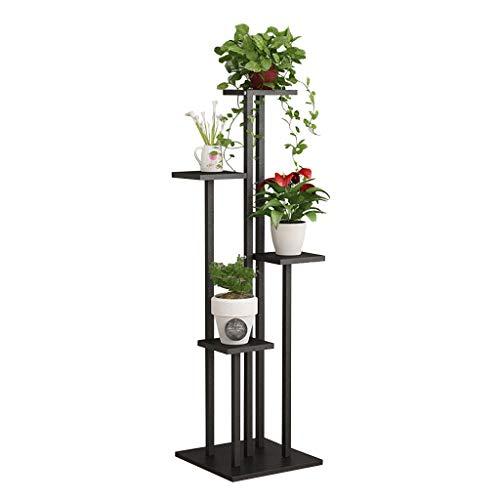 Schwarz Blumentreppe aus Metall Holz | Pflanzentreppe, Pflanzenregal Blumenregal, Blumenbank, Pflanzenständer Blumenständer für Innen Außen Garten Dekor