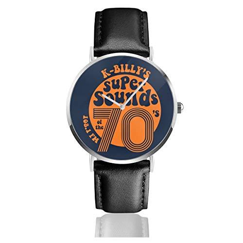 Unisex Business Casual Reservoir Dogs K Billys Super Sounds of The 70er Jahre Uhren Quarz Leder Armbanduhr mit schwarzem Lederband für Männer und Frauen Young Collection Geschenk