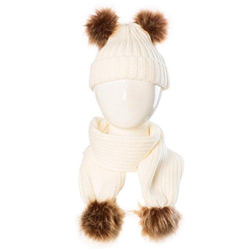 OVERDOSE Nette Baby Kids Hut Warm Strick Woolen Ball Cap Hüte Mützen + Schal Keep Warm Set (0-36 Monate, A-Beige)