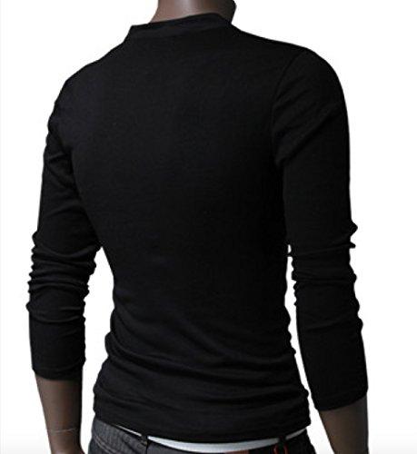 Herren Stylisch lässig Henley Shirt Langarmshirt Slim Fit Schwarz