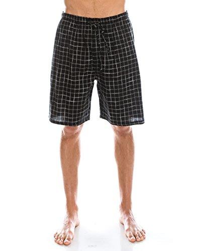 TINFL Men's Soft Cotton Plaid Check Lounge Pajama PJ Sleepwear Shorts with Pocket