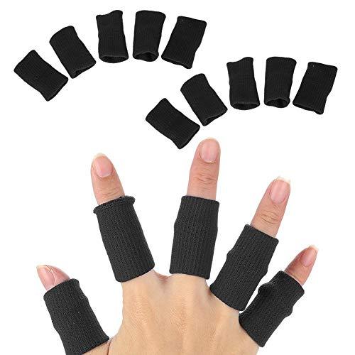 schutz, elastisch, Bandagen Finger Guard für Basketball, Volleyball, Badminton, 10 Stück Schwarz ()