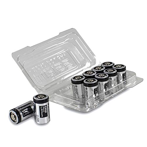 10x Panasonic Industrial CR2 3V Lithium Batterie in praktischer Batteriebox von Weiss - More Power + -