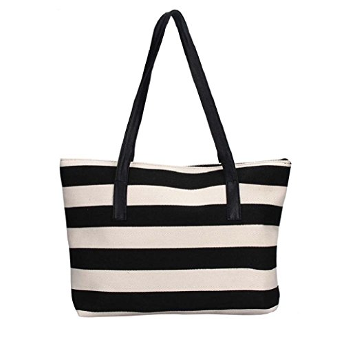 Fami Fashion Lady shopping Stripe épaule sac fourre-tout Noir