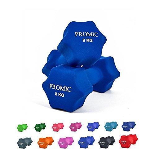 PROMIC  Neopren Hanteln Gewichte für Gymnastik Kurzhanteln- ideal für Aerobic & leichtes Fitnesstraining, 13 verschiedene Gewichte und Farben zur Auswahl (2er-Set), 2 x 8 kg, Dunkelblau