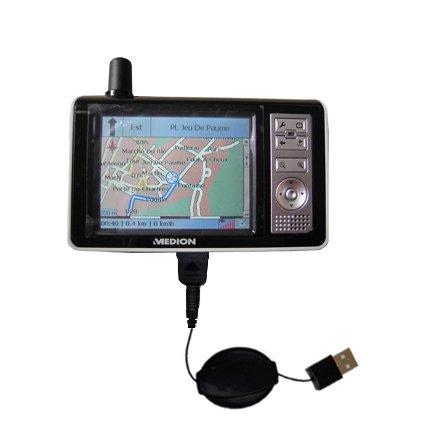 Le Câble USB Rétractable Charge/Transfert Pour le Medion MDPNA 150 - Vous propose deux services en un : charge et transfert de données