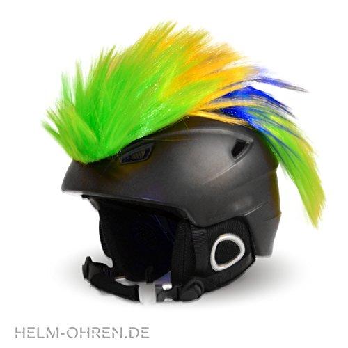 Helm-Irokese für den Skihelm, Snowboardhelm, Kinderskihelm, Kinderhelm, Motorradhelm, Fahrradhelm - Punk Fan Irokese für Kinder und Erwachsene Helmcover HELMDEKO (Grün Gelb Blau)