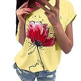 Lilicat Damen Kurzarm Spitze Patchwork Bluse Tops Kleidung Rundhals Mode Spitze Druck Elegant Vintage Spitze Couture Kurzarm T-Shirt Kurzarm Gr. 46, Jaune