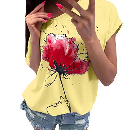 OVERDOSE Frauen Kurzarm Blumen Pumps Gedruckt Tops Strand Beiläufige Lose Bluse Top T-Shirt (EU-36/CN-S, X-ab-gelb) (Gelbe Tunika Kleid)