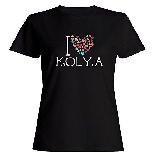 Idakoos I Love Kolya Colorful Hearts - Male Names - Women T-Shirt