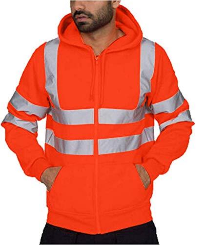 Herren Kapuzen-Sweatshirt reflektierendes Band, Arbeits-Sweatshirt, Sicherheitsjacke, Arbeitskleidung, Übergröße Warnjacke Warnschutzjacke porthose Reflektierend Hosen Jogging (Orange , XXL )