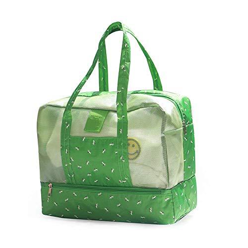 Warooma Strandtasche Kulturtasche Kulturbeutel Reisegepäck Tasche Wasserdicht Kosmetiktasche Organizer mit Reißverschluss für Frauen Tote grün