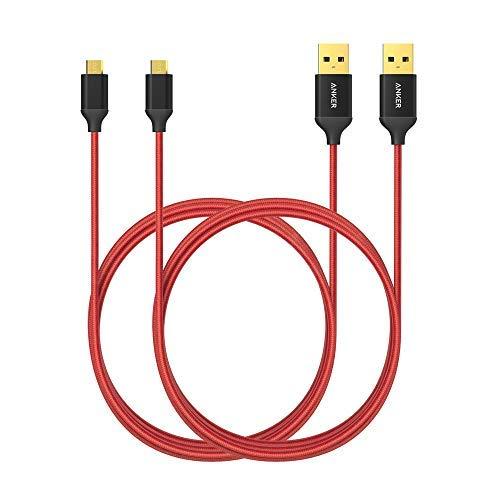 Anker Micro USB Kabel Nylon 1.8M [2-Pack] High Speed Sync und Ladekabel mit vergoldeten Steckern für Samsung, HTC, Huawei, Sony, Nokia, Nexus, Kindle und weitere Android Smartphones (Rot)
