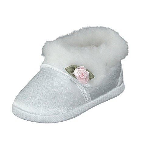 Omnia-Baby Taufschuhe Babyschuhe Lauflernschuhe Kinderschuhe, Festliche Baby Schuhe, Satin, Gefüttert, Weiß, Größe EU 17 (Weiße Baby Schuhe)