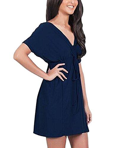 Auxo Grand Taille Sexy Mini Robe en V Profond Manches Courtes Tunique Plage Basic Long Blouse 7 Couleurs Bleu foncé