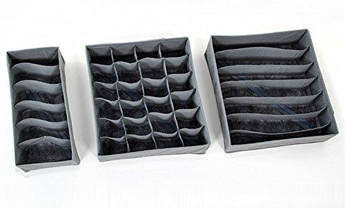 SaySure - 3 pieces Bamboo Charcoal fibre Storage Box for bra underwear etc