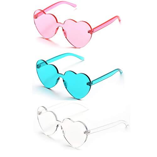 OAONNEA Love Herzform Randlose Sonnenbrille Damen Kunststoff Rahmen Brille Candy Color Gläser (3mix)