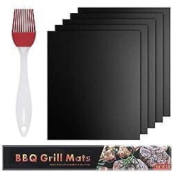 Yica BBQ Grillmatten, Grillmatte (5er Set) Zum Grillen und Backen und Silikon Bürste,40 x 33 cm BBQ Antihaft Grill-und Backmatte Wiederverwendbar PFOA-Frei Schwarz