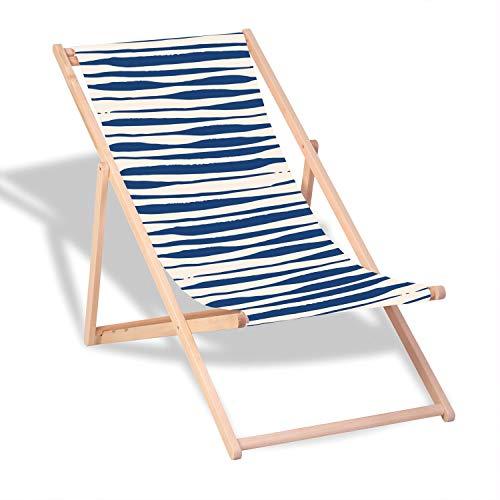 Queence | Dekorativer Holz-Liegestuhl | klappbar | Gartenliege | Strandliege | Sonnenliege | Gartenmöbel | 120x60 cm | Verschiedene Motive, Größe:ca. 120x60 cm Blau