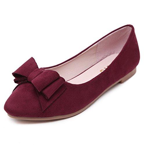 Smilun Damen Flach Schuhe Loafer Faltbar Ballerina mit Schleifen Nubukoptikl Spitze Rot