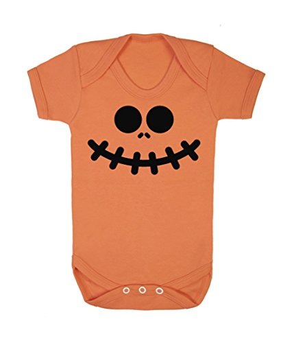 Kürbis Gesicht Strampler (schwarz auf orange (Beängstigend Für Kürbisse Halloween-gesichter)