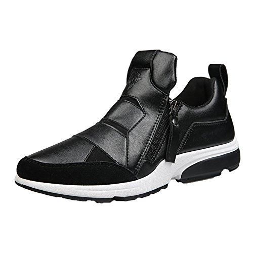Oasap Homme Sneakers Casual Talons Plats Sport Zippé Noir