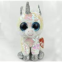 sundada Toy Big Eyes White Sequin Unicorn Zebra Deer Penguin Dog Cat Plush Toy Doll Stuffed Animal Plush Kid Toy 15Cm