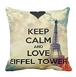 perfecone Heimwerker Kopfkissenbezug Halten Sie Ruhe und Liebe Eiffelturm Design für Sofa und Auto Kopfkissenbezug 1 Pack 20x20 Zoll